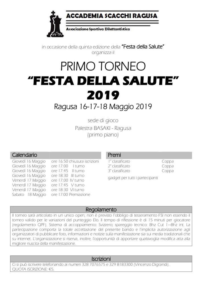 Fsi Scacchi Calendario.Torneo Festa Della Salute Ragusa 16 17 18 Maggio 2019